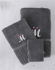 gifts: Personalised Charcoal And Pink Towel Set!