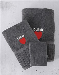 gifts: Personalised Charcoal And Red Towel Set!