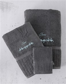 gifts: Personalised Charcoal And Blue Towel Set!