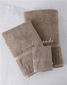 gifts: Personalised Pebble And Gold Towel Set!