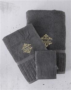 gifts: Personalised Regata Charcoal Towel Set!