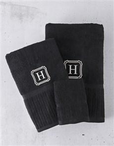gifts: Personalised Regata Black Towel Set!
