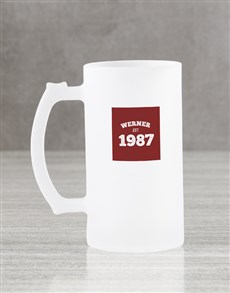 gifts: Personalised Red Frosted Beer Mug Gift Box!