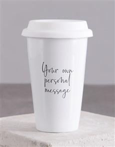 gifts: Personalised Cursive Message Travel Mug!