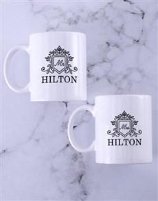 gifts: Personalised Mr and Mrs Surname Crest Mug Set!