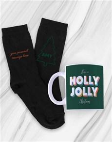 gifts: Personalised Holly Jolly Mug With Socks!