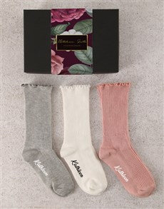 gifts: Personalised Rosy Frills Socks Set!