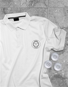 gifts: Personalised Emblem Polo Shirt And Golf Ball Set!