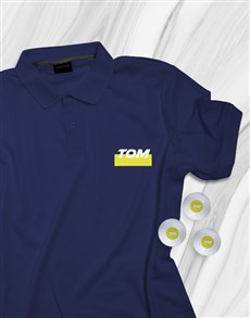 gifts: Personalised Golfer Polo Shirt And Golf Ball Set!