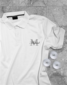 gifts: Personalised Classic Golfer Polo And Golf Ball Set!