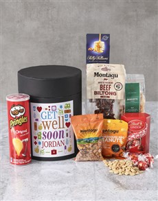 gifts: Personalised Get Well Soon Snack Hat Box !