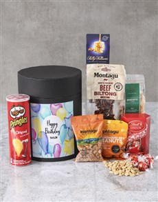 gifts: Personalised Happy Birthday Snack Hat Box !
