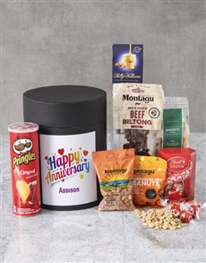 gifts: Personalised Happy Anniversary Snack Hat Box !