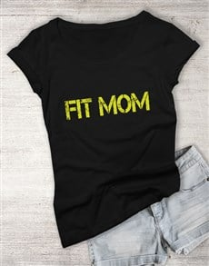 gifts: Personalised Black Fit Mom T Shirt!