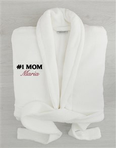 gifts: Personalised Number One Mom White Fleece Gown!