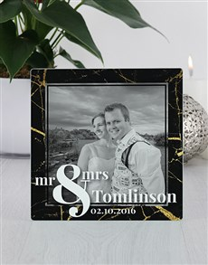 gifts: Personalised Mr and Mrs Glass Tile Photo Frame!