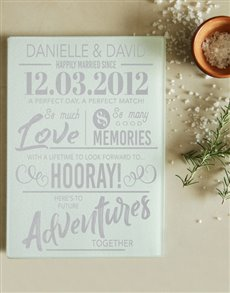 gifts: Personalised Happily Married Glass Chopping Board!