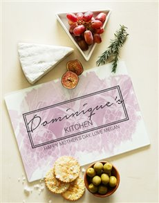gifts: Personalised Kitchen Chic Glass Chopping Board!