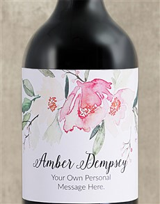 gifts: Personalised Watercolour Floral Red Wine!