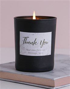gifts: Personalised Black Marble Thank You Candle!