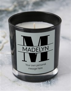 gifts: Personalised Black Stand Out Initial Candle!