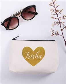 gifts: Personalised Heart Cosmetic Bag!