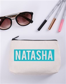 gifts: Personalised Blue and White Cosmetic Bag!