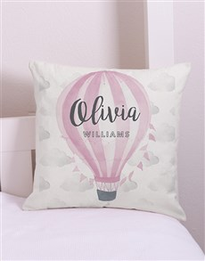 gifts: Personalised Pink Air Balloon Scatter Cushion!