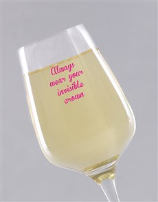gifts: Personalised Invisible Crown Wine Glass!