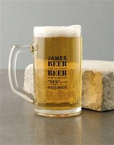 gifts: Personalised Question Beer Mug!