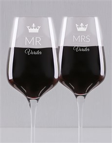 gifts: Personalised Tied The Knot Wine Glass Set!