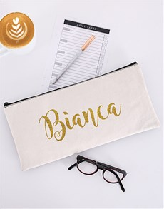 gifts: Personalised Glitter Cursive Pencil Bag!