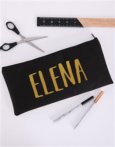 gifts: Personalised Gold Name Pencil Bag!