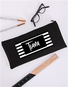 gifts: Personalised Striped Pencil Bag!