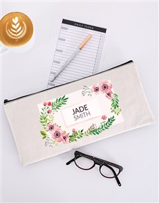 gifts: Personalised Floral Pencil Bag!