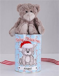 gifts: Personalised Christmas Cane Teddy Tin!