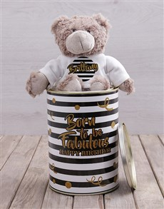 gifts: Personalised Born Fabulous Teddy Tin!