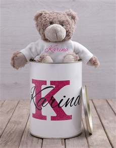 gifts: Personalised Name Teddy Tin!
