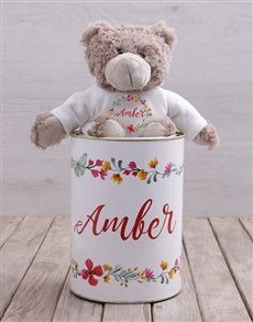 gifts: Personalised Floral Teddy Tin!
