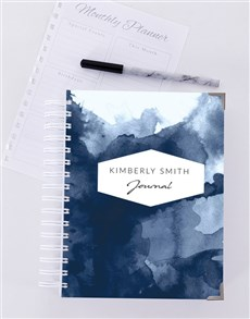gifts: Personalised Blue Watercolour Journal!