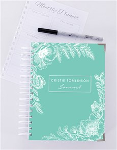 gifts: Personalised Green Floral Journal!