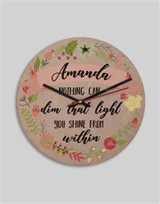 gifts: Personalised MDF Shine From Within Clock!