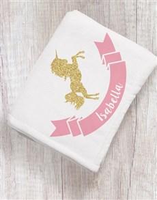 gifts: Personalised Unicorn Baby Fleece Blanket!