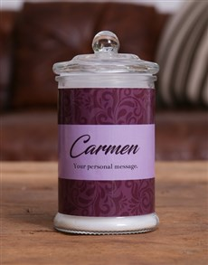 gifts: Personalised Purple Candle Jar!