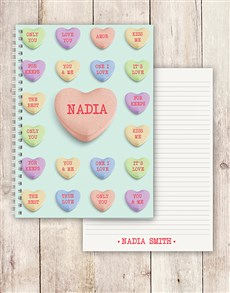 gifts: Personalised Love Hearts Notebook!