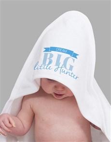 gifts: Personalised Dream Big Blue Hooded Towel!