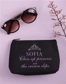 gifts: Personalised Chin Up Princess Cosmetic Bag!