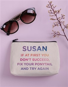 gifts: Personalised Try Again Cosmetic Bag!