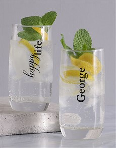 gifts: Personalised Happy Wife and Life Glass Set!