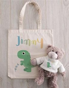 gifts: Personalised Teddy in Dinosaur Tote Bag!